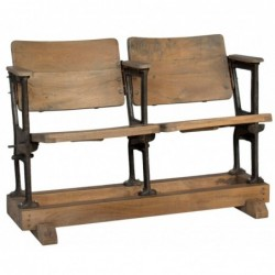 banco de madera y hierro